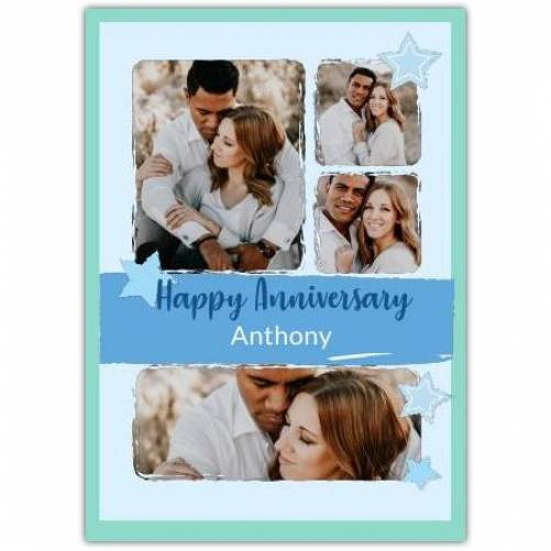 Happy Anniversary Stars With Blue And Green Background  Card