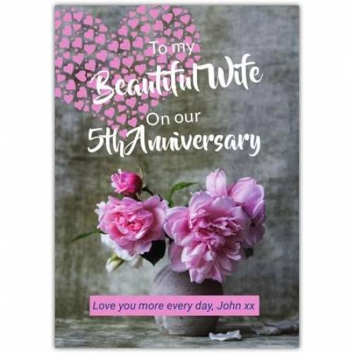 Happy Anniversary To My Wife Vase With Flowers  Card