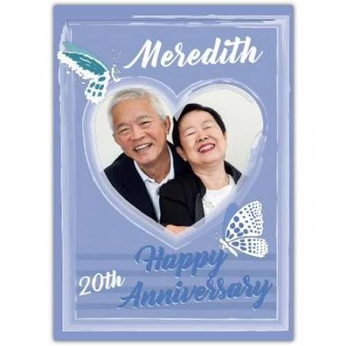 Happy Anniversary Purple Butterflies Heart Frame Card