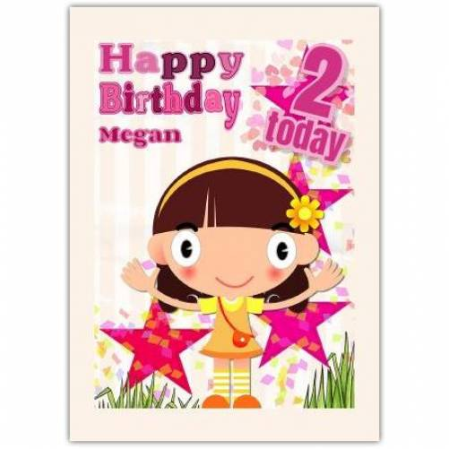 Happy Birthday Little Girl With Stars Card