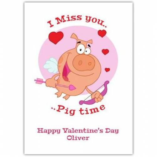 Happy Valentines Day Pig As Cupid  Card
