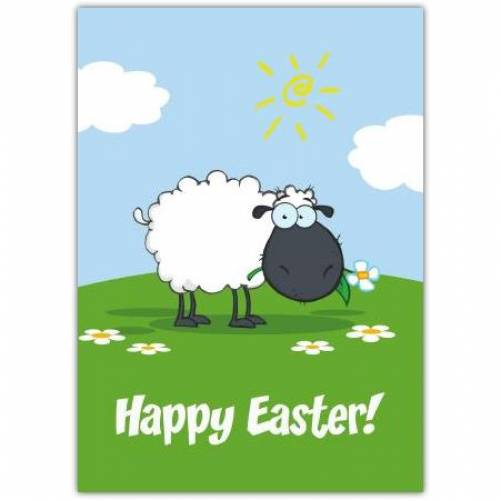 Happy Easter Sheep Eating A Daisy Card