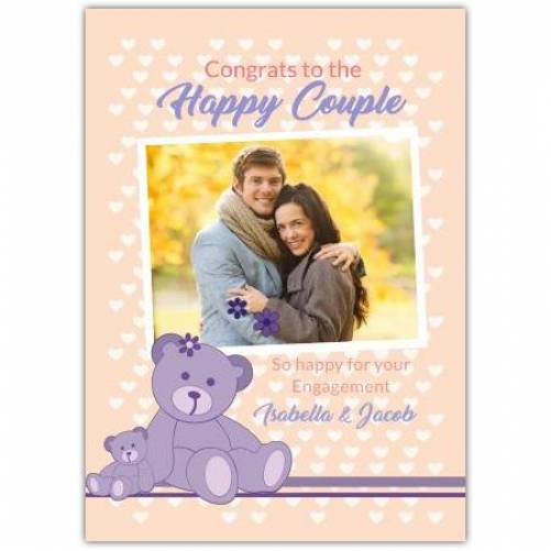 Congrats To The Happy Couple 2 Purple Bears  Card
