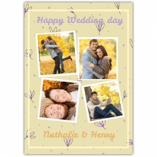 Happy Wedding Day Yellow Background With Flowers Card