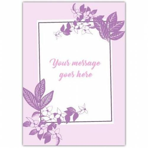 Any Message Pruple Frame And Flowers Card