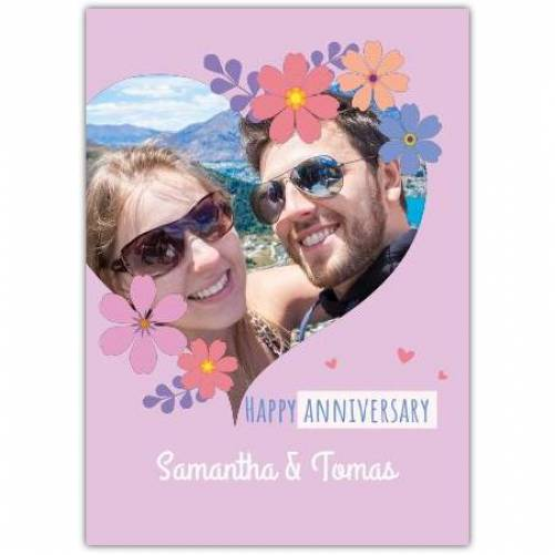 Happy Anniversary Heart With Flowers Card