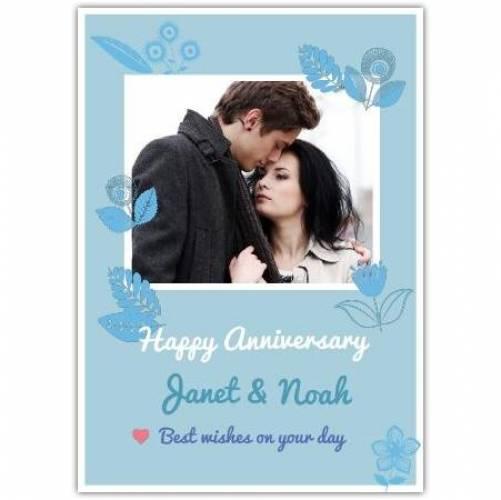Happy Anniversary Pastel Blue Flowers Card