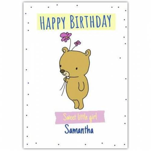 Happy Birthday Teddy Bear Holding Flowers Card