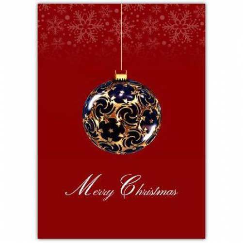 Meryy Christmas Red Background And Bauble  Card