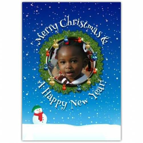 Merry Christmas And A Happy New Year Wreath In Snow  Card