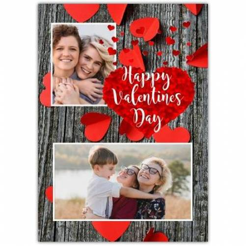 Happy Valentines Day Paper Hearts Card