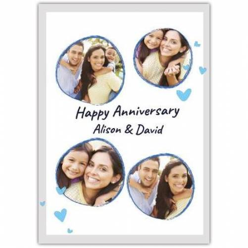 Happy Anniversary Round Blue Frame Blue Hearts Card