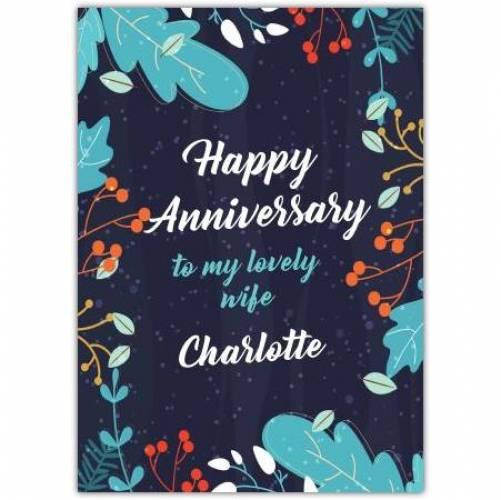 Happy Anniversary Dark Blue Leaf Desgin  Card