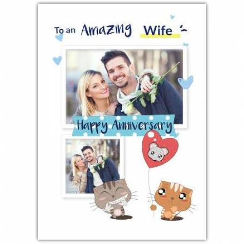 To My Amazing Wife Happy Anniversary 2 Cats 1 Balloon Card