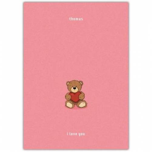 One Teddy Holding A Heart With Pink Simple Background Card