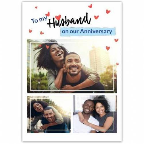 To My Husband On Our Anniversary Red Hearts  Card