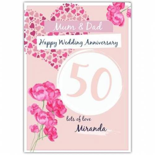 Happy Wedding Anniversary Pink Roses And A Heart Card