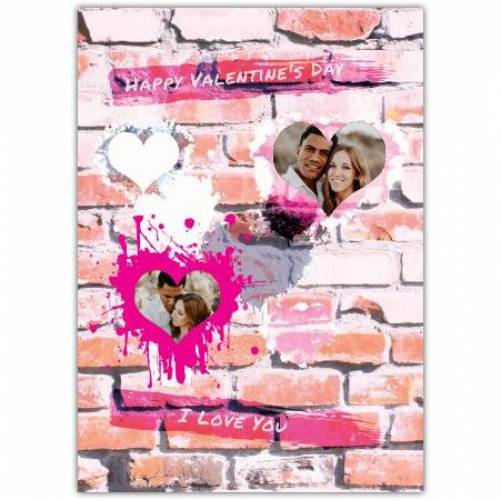 Happy Valentines Day Pink Brick Background With Hearts Card