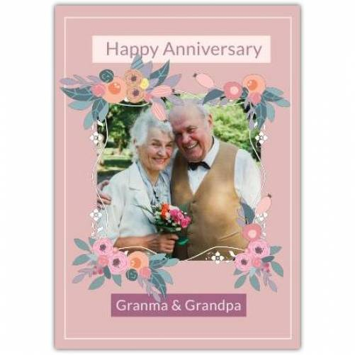 Happy Anniversary Flower Frame With Pink Background Card