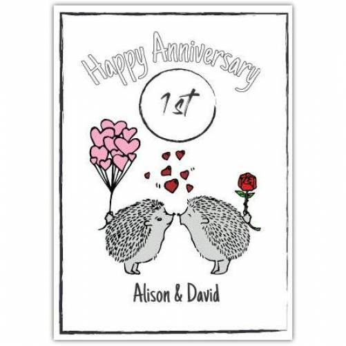 Happy Anniversary Hedgehogs Kissing Hearts And Rose Card