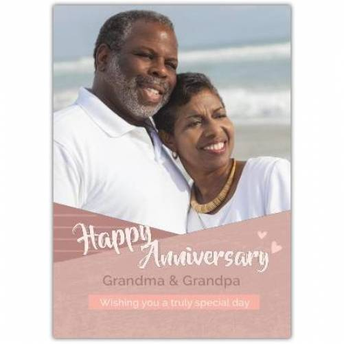 Happy Anniversary Neutral Brown Frame One Photo Card