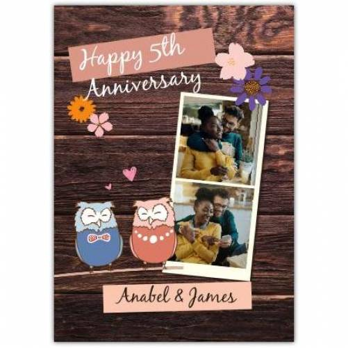 Happy Anniversary Wooden Background 2 Owls Card