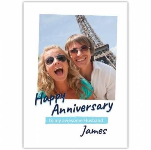 Happy Anniversary White Simple  Card