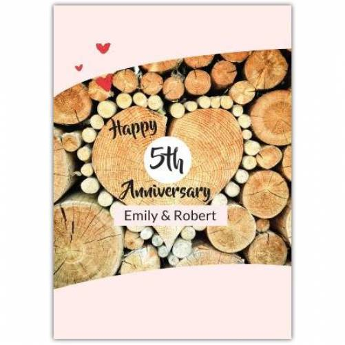 Happy Anniversary Wood In Shape Of A Heart Card