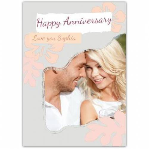 Happy Anniversary Grey And Orange Background  Card