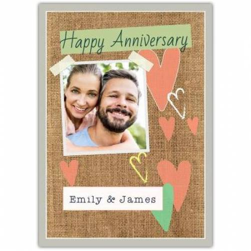 Happy Anniversary Hearts On Brown Texture Background Card