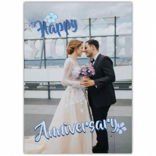 Happy Anniversary Blue Flowers One Photo Card