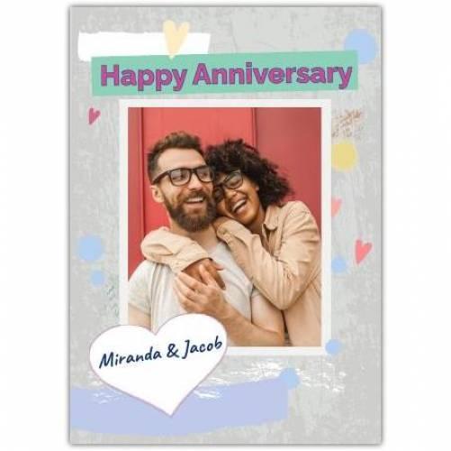 Happy Anniversary Grey Texture Background Card