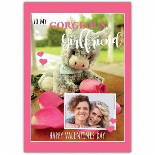 Happy Valentines Day Cuddly Toy With Rose  Card