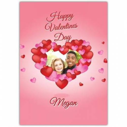 Happy Valentines Day Pink And Red Hearts Card