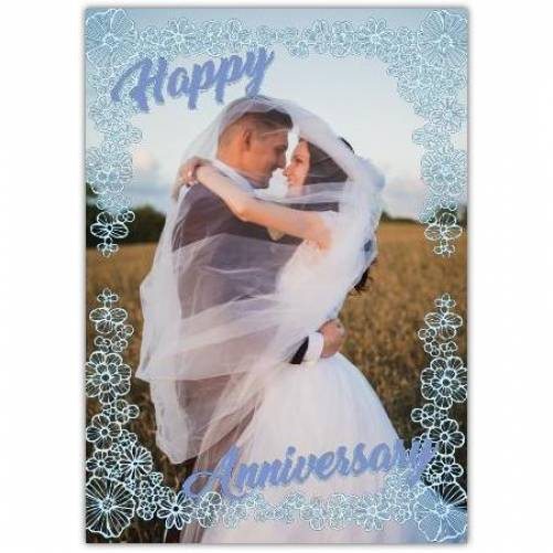Happy Anniversary Flower Frame With One Big Photo Card