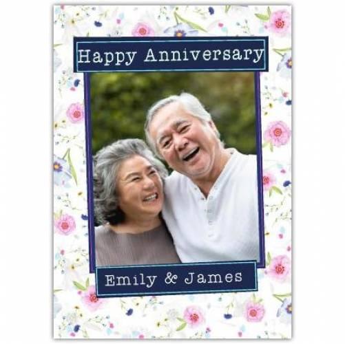 Happy Anniversary Flower Pattern Card