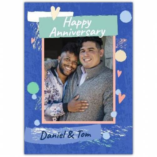Happy Anniversary Colourful With Hearts Card