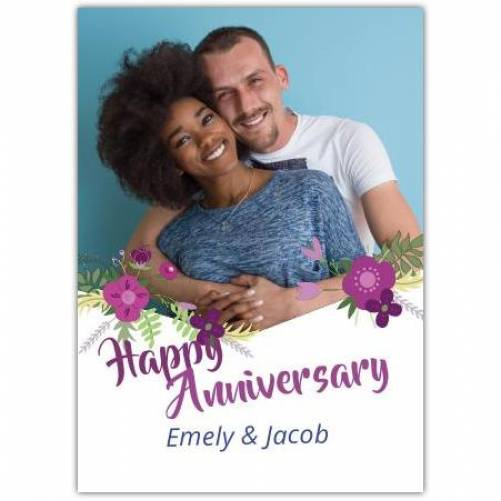 Happy Anniversary One Photo With Flowers Card