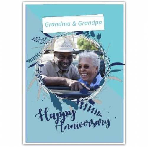 Happy Anniversary Round Flower Frame  Card