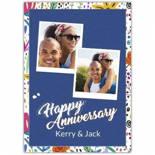 Happy Anniversary Flower Frame  Card