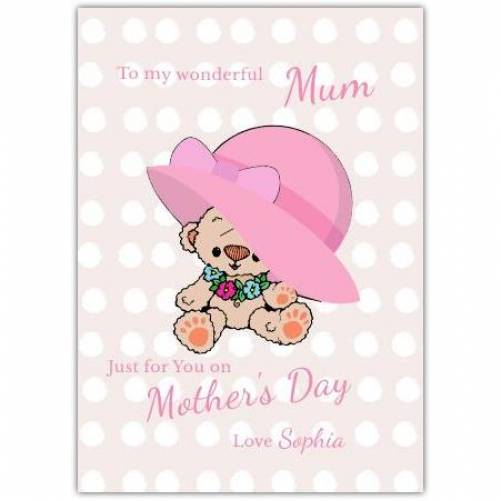 Happy Mother's Day Teddy Wearing Big Pink Hat Card
