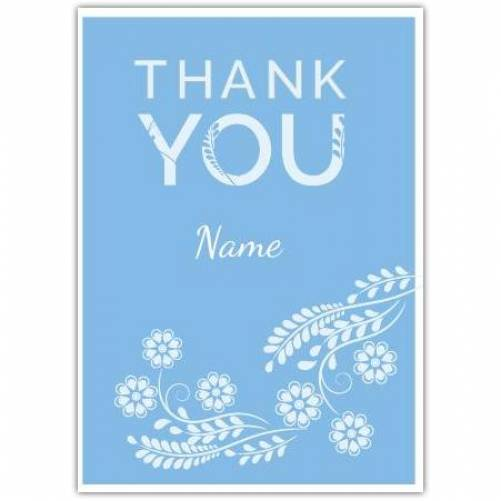 Thank You White Flowers Card