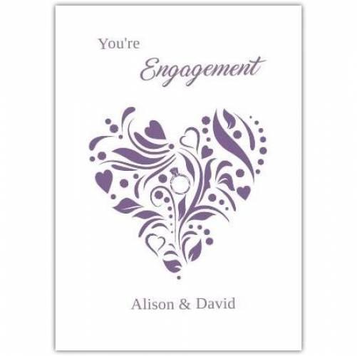 Engagemnt Ornament Purple Heart Card