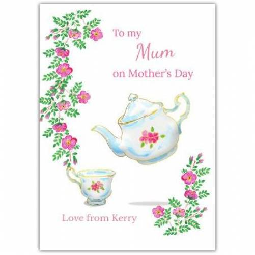 Happy Mother's Day Teapot Pink Flowers Card