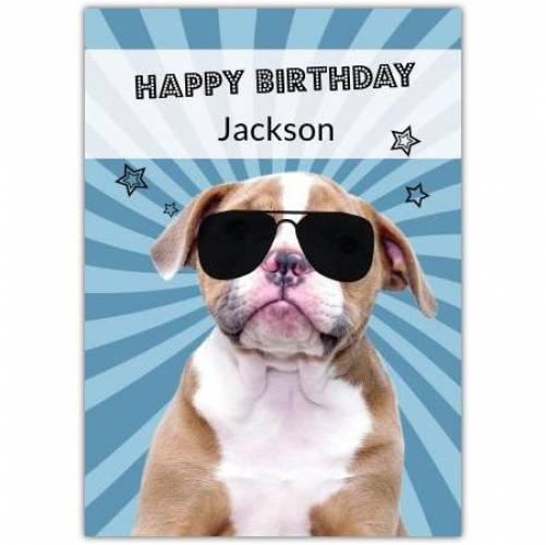 Happy Birthday Dog Wearing Sunglasses Card