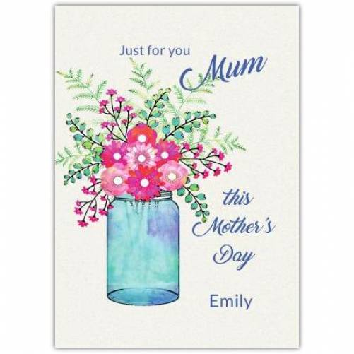 Happy Mother's Day Blue Vase, Pink Flowers Card