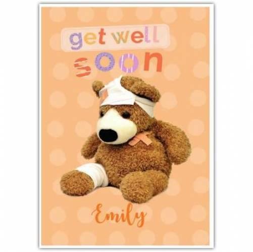 Get Well Soon Sick Teddy Bear  Card