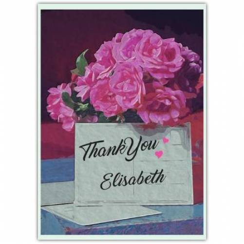 Thank You Pretty Pink Flowers Card