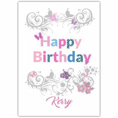 Happy Birthday Butterfly Ornament For Girls Card
