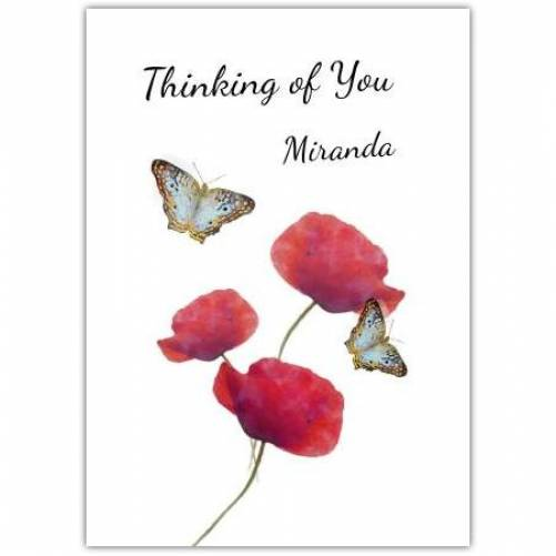 Thinking Of You Flowers And Butterflies Card